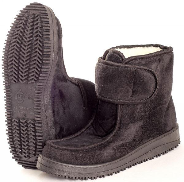 Ботинки мужские из искусственной замши с мокасиновой вставкой (застежка липучка)