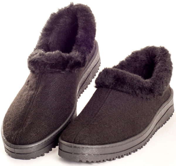 Туфли мужские суконно-меховые черные
